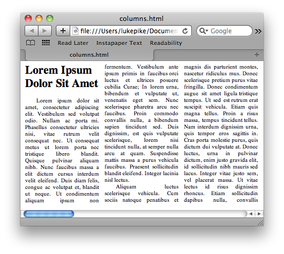 Columns in Safari